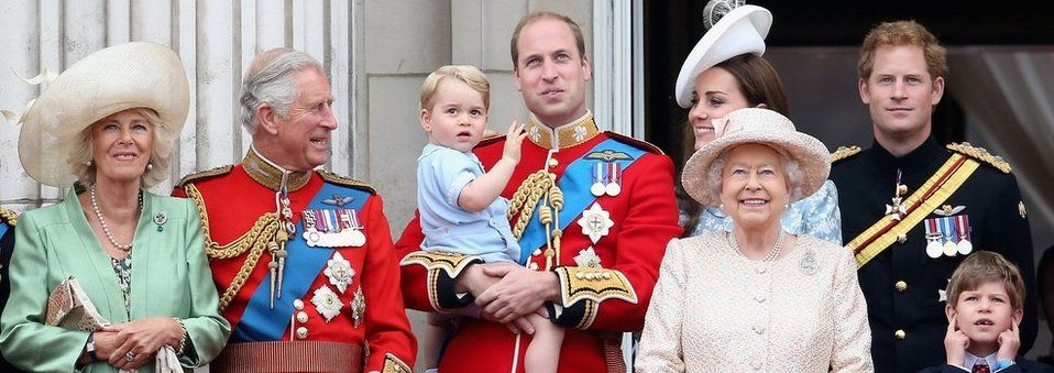 The Duchess of Cornwall, Prince of Wales, Prince George, Prince William, The Queen, the Duchess of Cambridge and Prince Harry