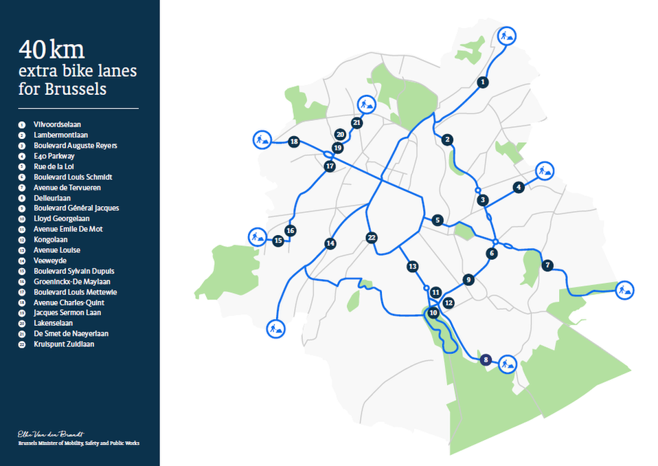 A map illustrating the new bike lanes around Brussels