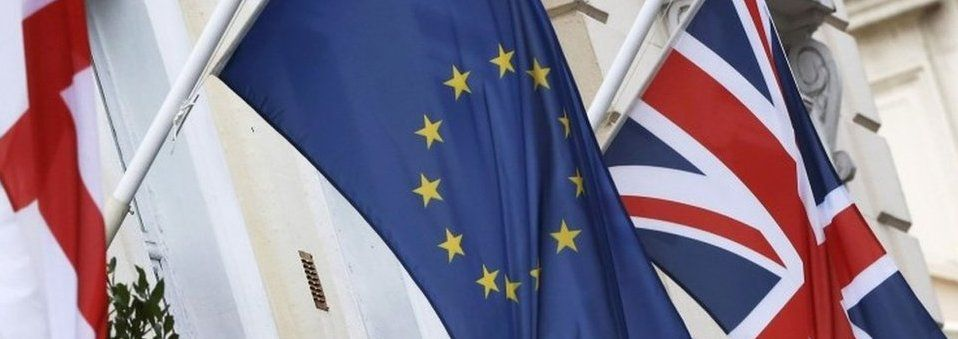 Union Flag and flag of the European Union