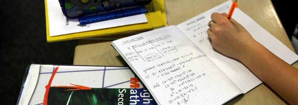 Higher Maths work at desk