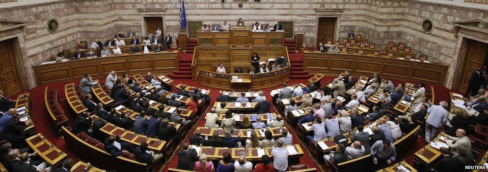 A general view shows the Greek parliament plenary chamber during a parliamentary session in Athens, Greece, on 14 August, 2015.