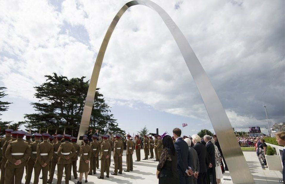 The memorial arch during the Step Short commemorative event in Folkestone, Kent to commemorate the 100th anniversary of the outbreak of World War One
