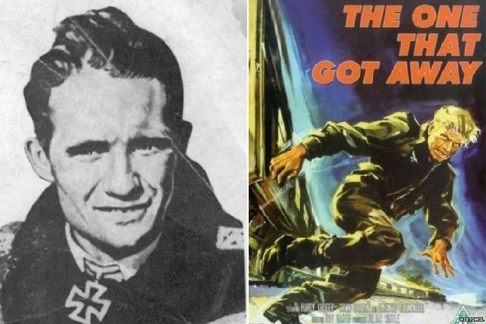 Franz von Werra and a film poster for the One That Got Away
