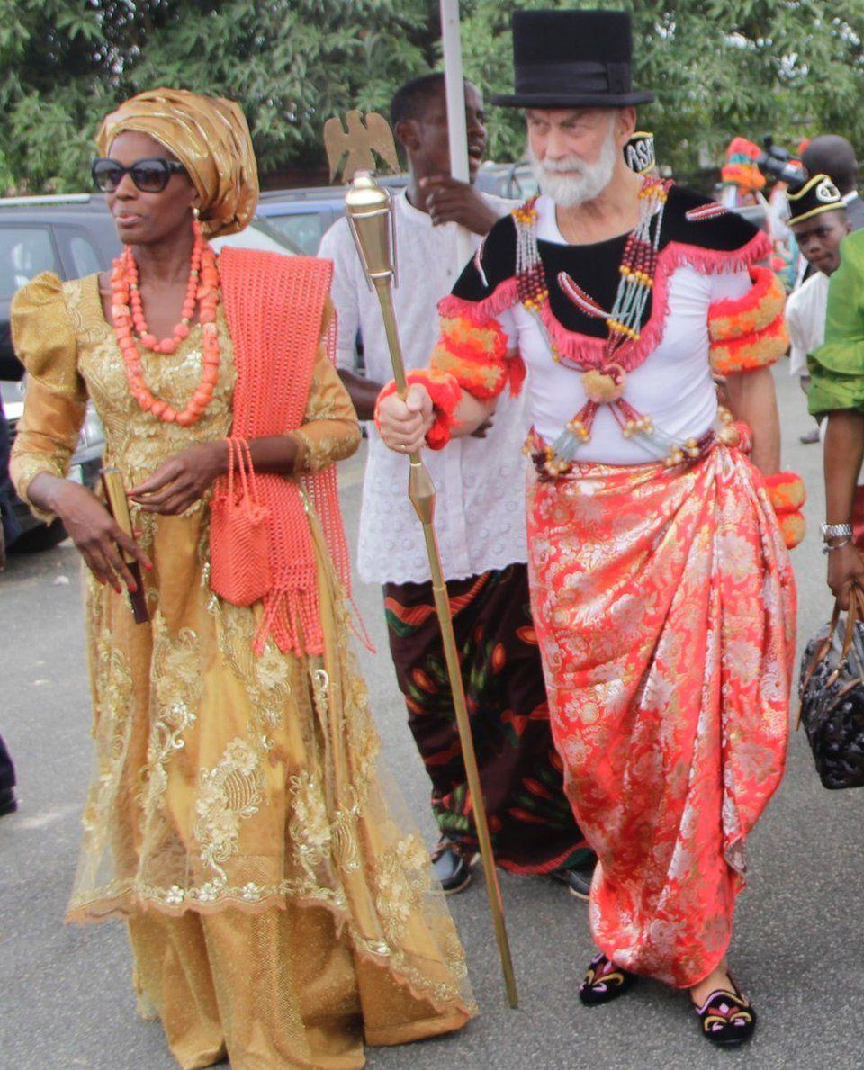 Obonganwan Nsidung Barbara (ONB) and HRH Prince Michael of Kent, in Efik attire as he went to the Palace of the Obong of Calabar to receive an Efik Chieftaincy Title - Ada Idagha Ke Efik Eburutu, in 2017.