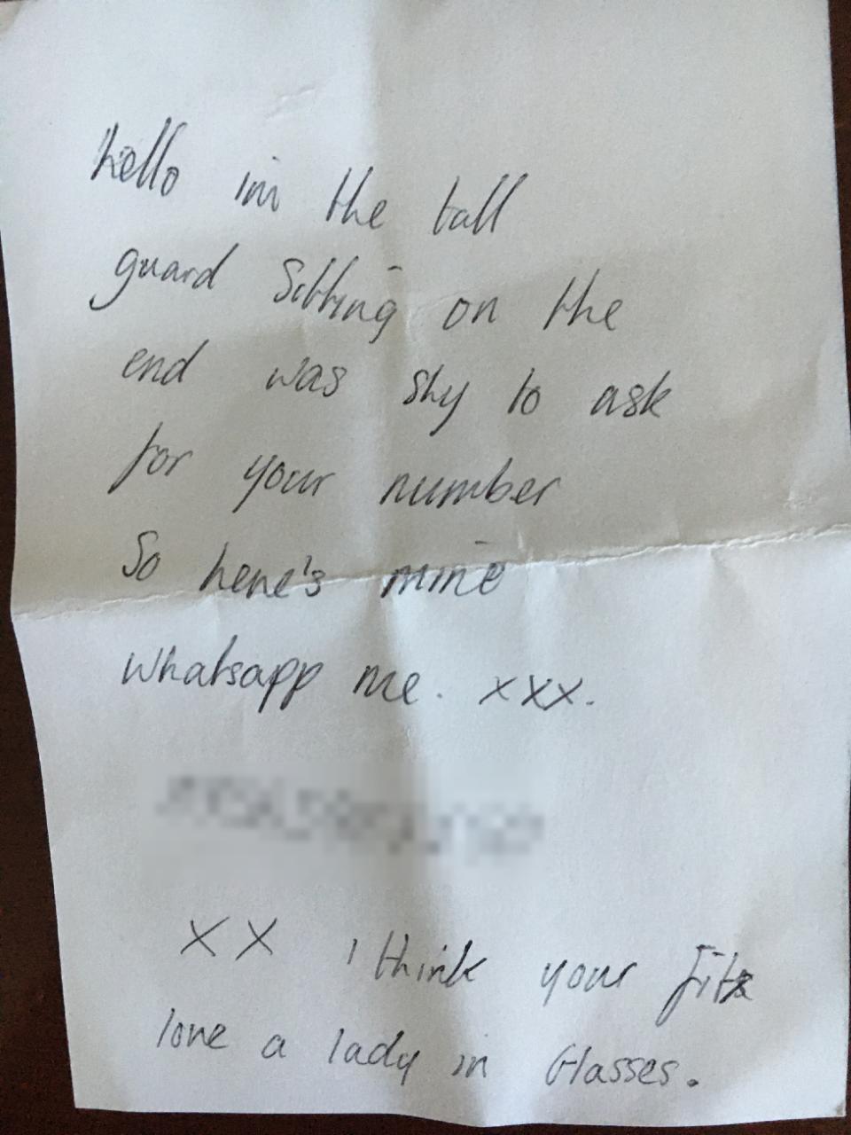 the note sent to Caroline