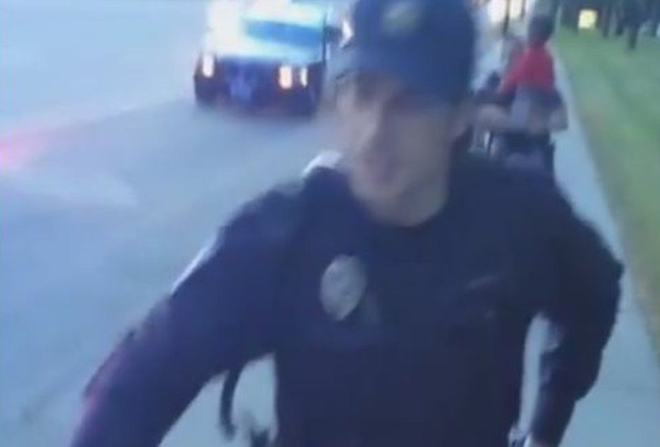 Still from Facebook Live feed shows police officer approaching - July 2016