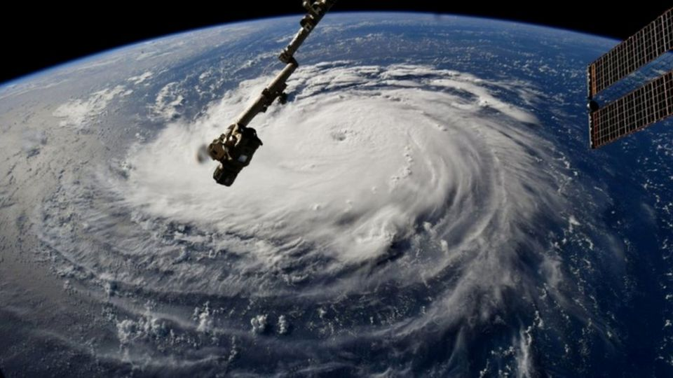 Hurricane Florence is seen from the International Space Station as it churns in the Atlantic Ocean towards the east coast of the United States, September 10
