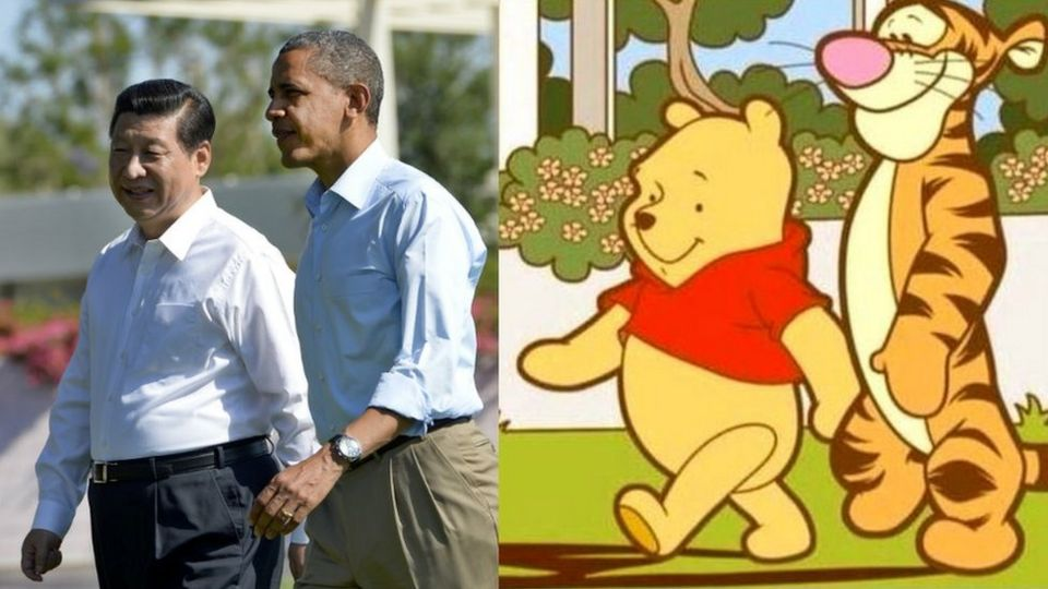 Composite picture of Xi Jinping, Barack Obama and Winnie the Pooh characters
