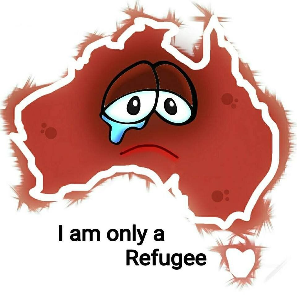 """A drawing by EatenFish, showing a map of Australia, with two crying eyes, and the words """"I am only a refugee"""""""