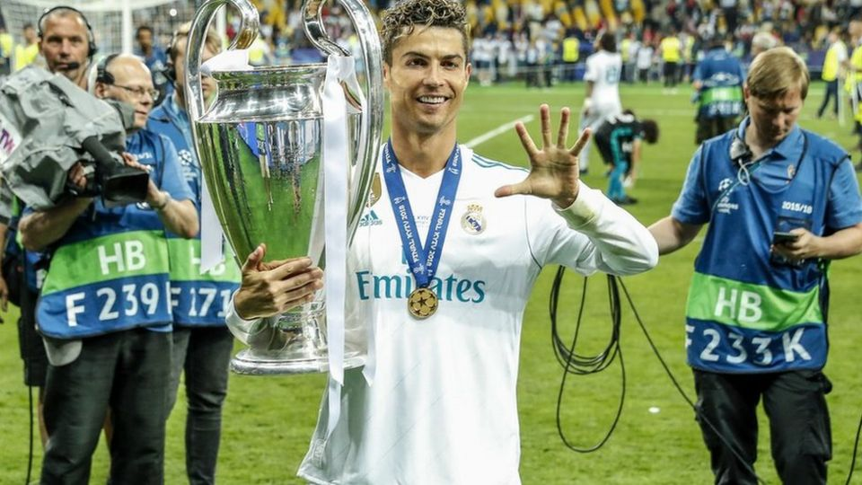 ronaldo holding champions league trophy