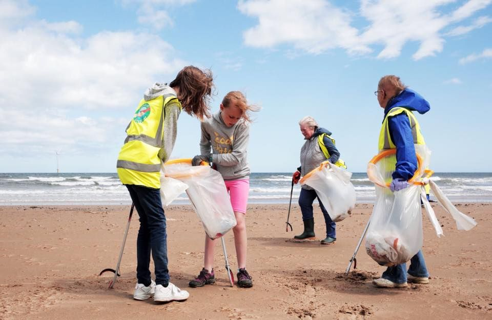 Volunteers from Friends of Redcar picking litter up