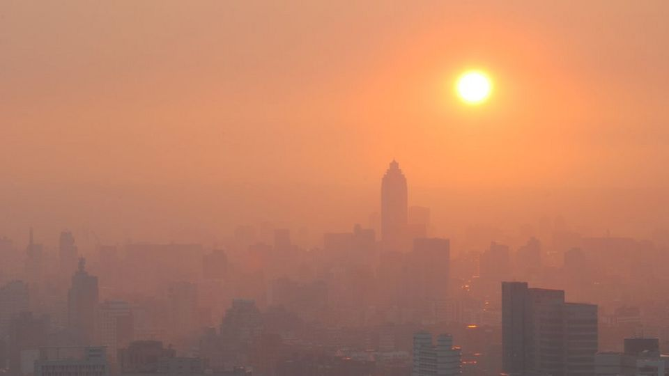 City Sunset in Smog