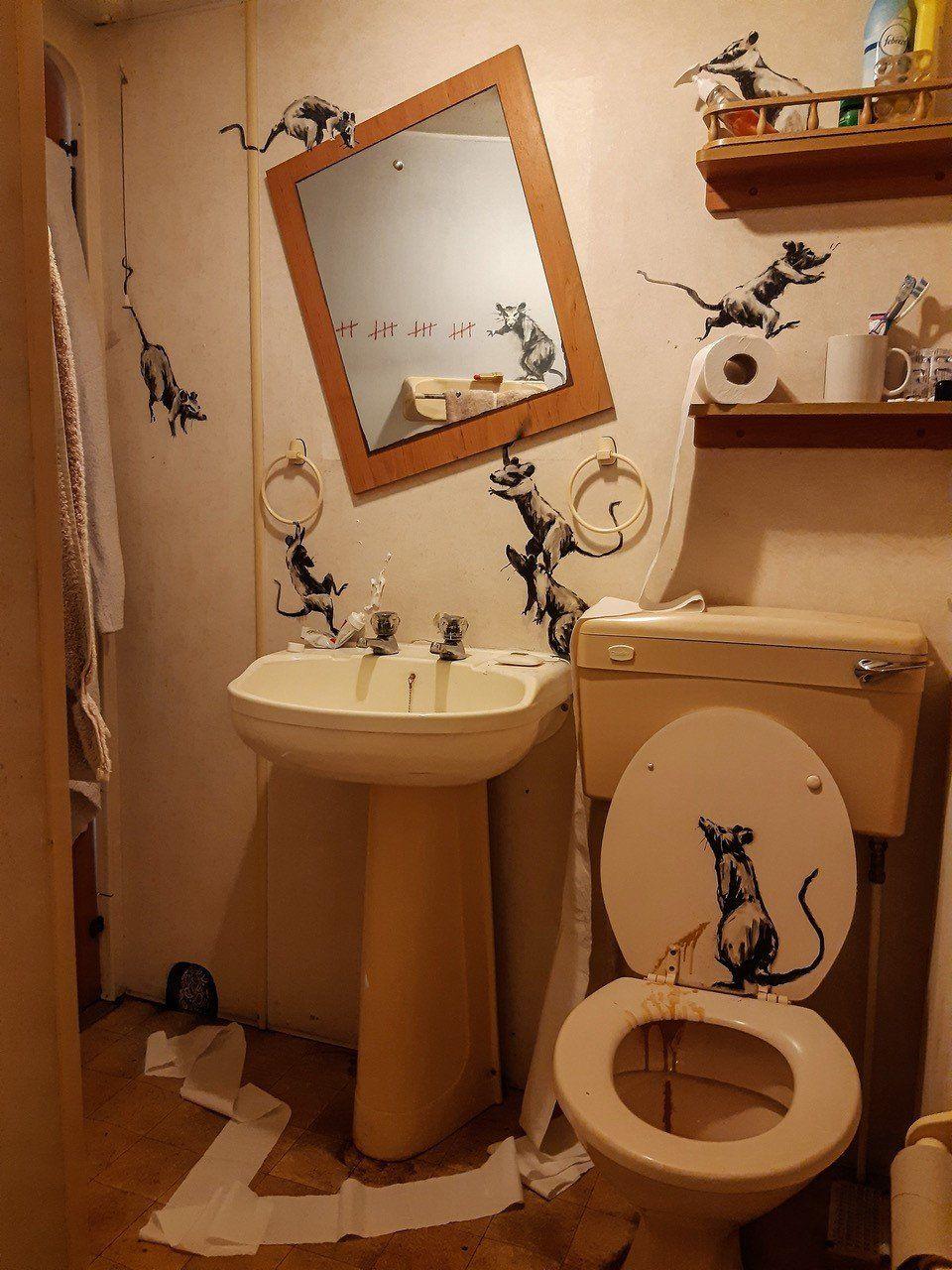Coronavirus Banksy Makes Bathroom Lockdown Art Bbc News