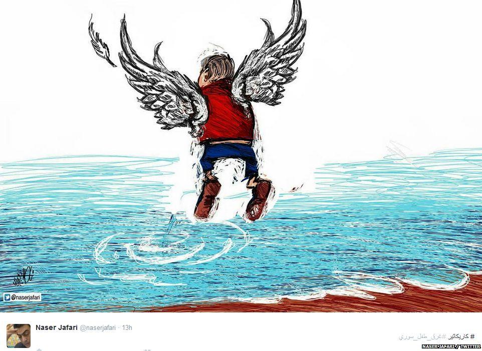 A tweet with an image of 3 year old Aylan Kurdi as an angel
