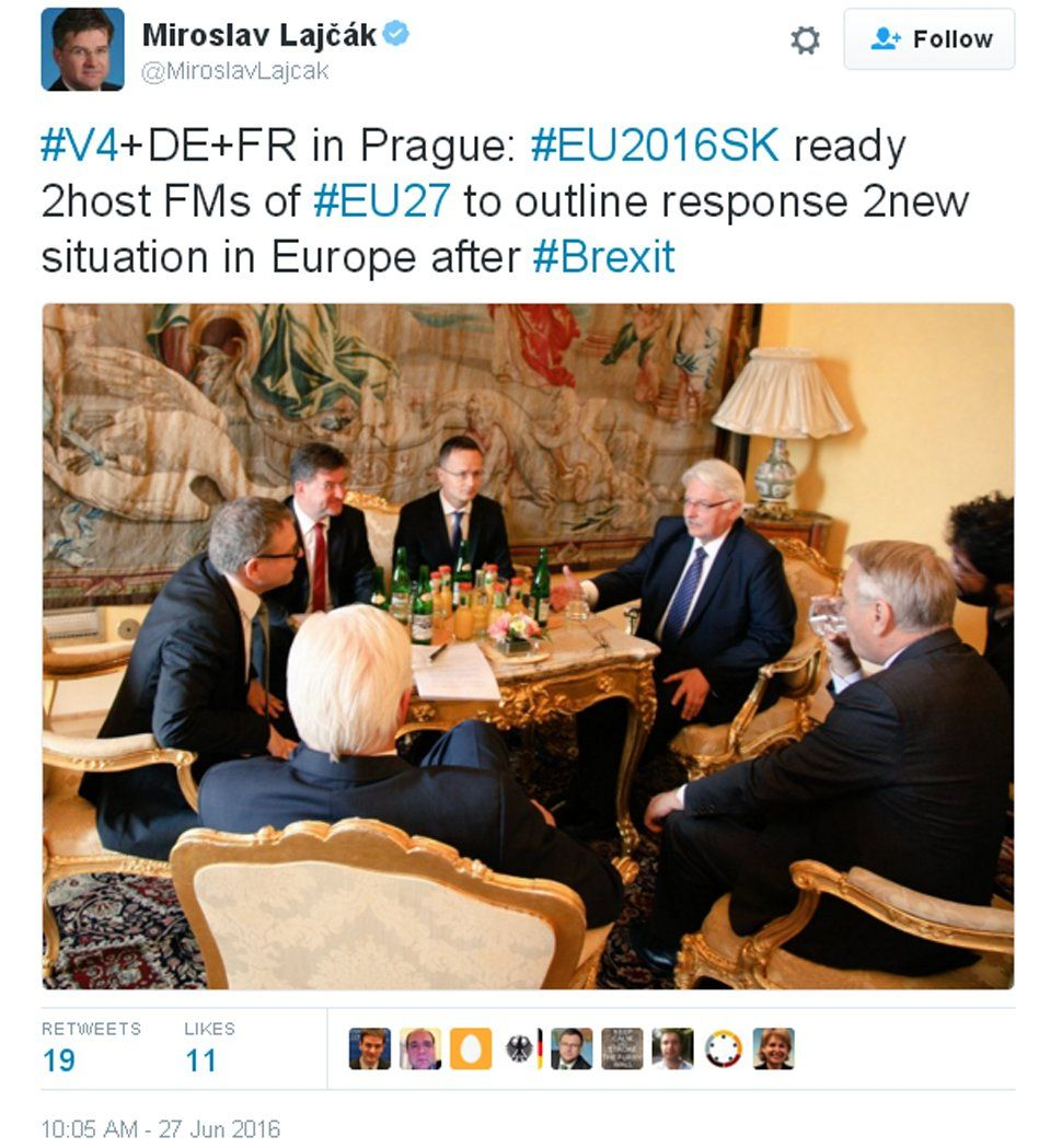 The Slovak foreign minister's tweet from the Visegrad 4 meeting in Prague