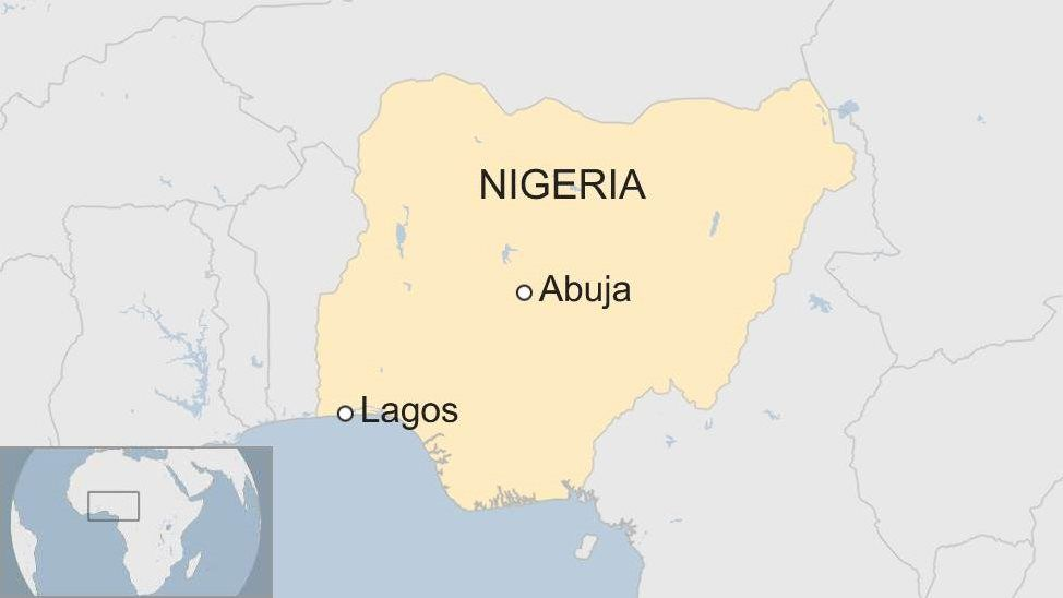 A map showing where Abuja and Lagos are in Nigeria