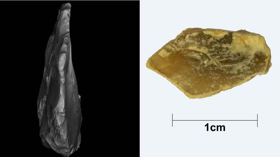Images of flint found on the seabed 25 miles off the Norfolk coast