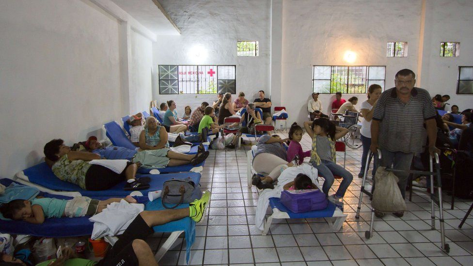 Evacuees remain at a shelter in Puerto Vallarta, Mexico on October 23 ,2015, during hurricane Patricia