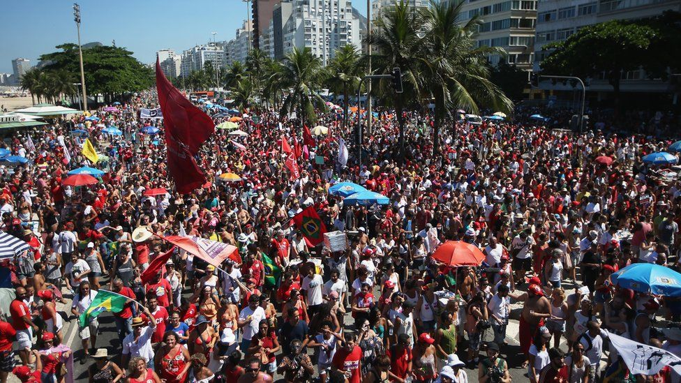Supporters of President Rousseff on Copacabana Beach