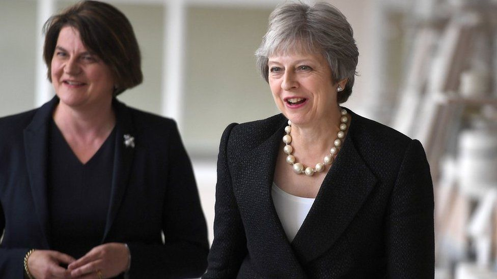 DUP leader Arlene Foster and Theresa May