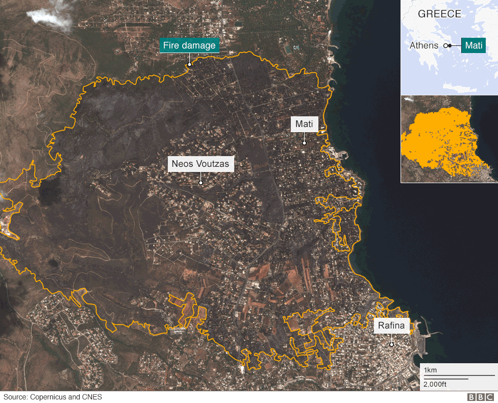 Satellite image of Mati area shows extent of fire damage
