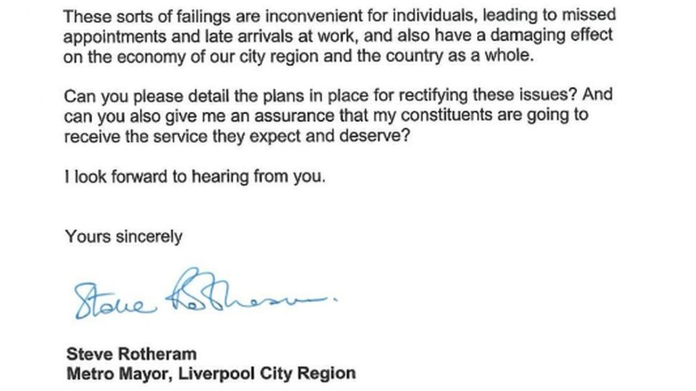 Letter to Northern rail