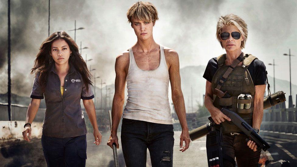Natalia Reyes, Mackenzie Davis and Linda Hamilton as they appear in the next Terminator film