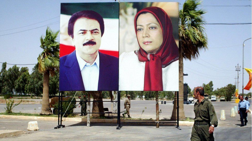 """Maryam Rajavi, (r) the group's leader, is referred to as """"Iran's president in exile"""" by followers"""