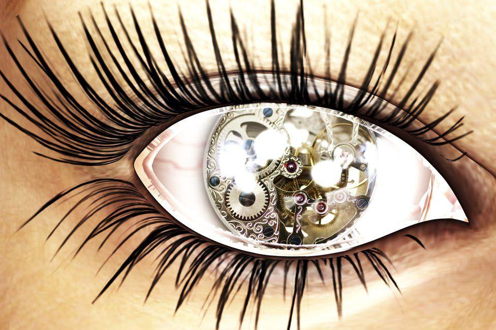 Female clockwork eye graphic