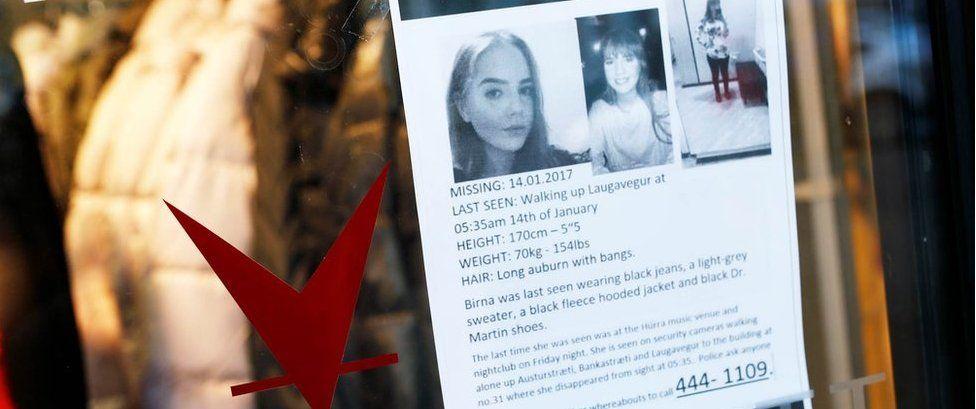 A missing poster for Birna Brjansdottir