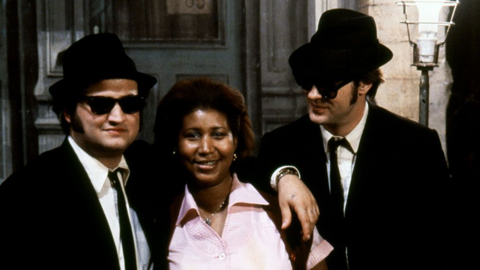 Aretha Franklin with John Belushi and Dan Aykroyd on the set of The Blues Brothers