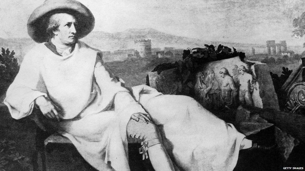 German poet, dramatist, scientist and court official Johann Wolfgang von Goethe reclining outdoors