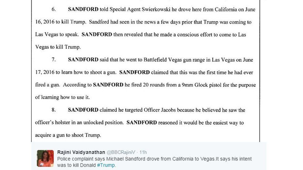 """Screenshot of court papers quote Sandford saying he """"made a conscious effort to come to Las Vegas to kill Trump"""