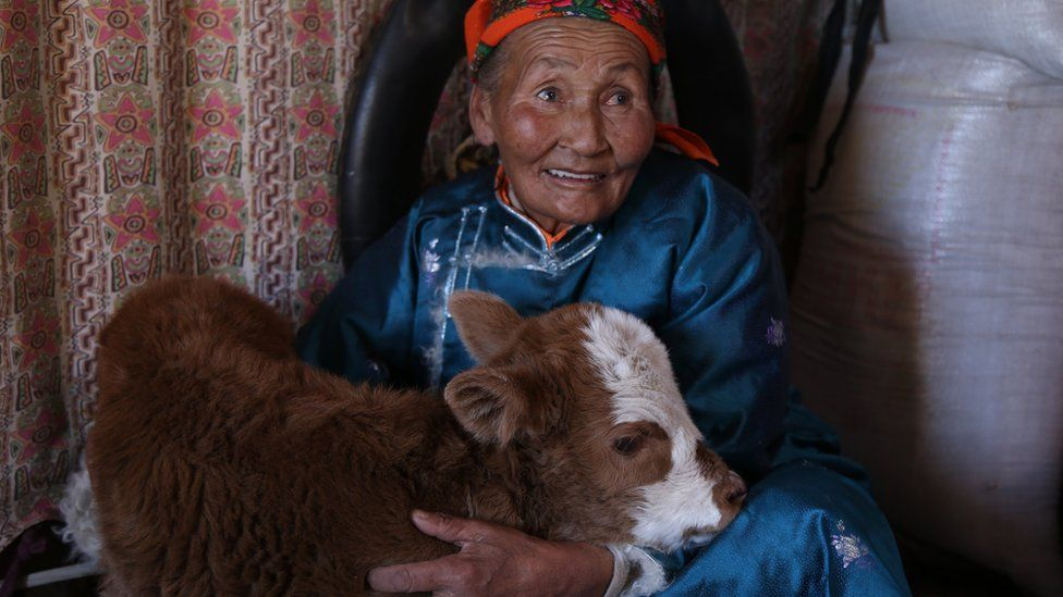 Older woman with an animal, inside a home