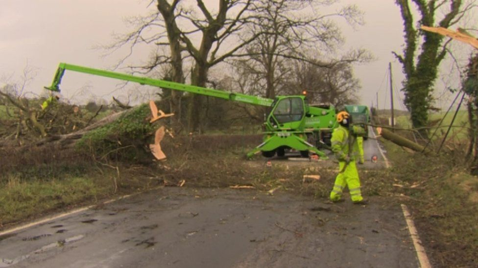 Road workers remove a tree that had fallen across a road in County Londonderry