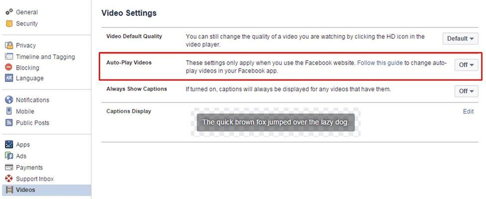 Screengrab from Facebook shows how do disable Auto-Play function