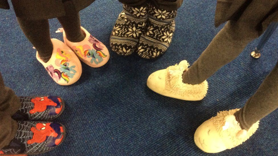 Children wearing slippers