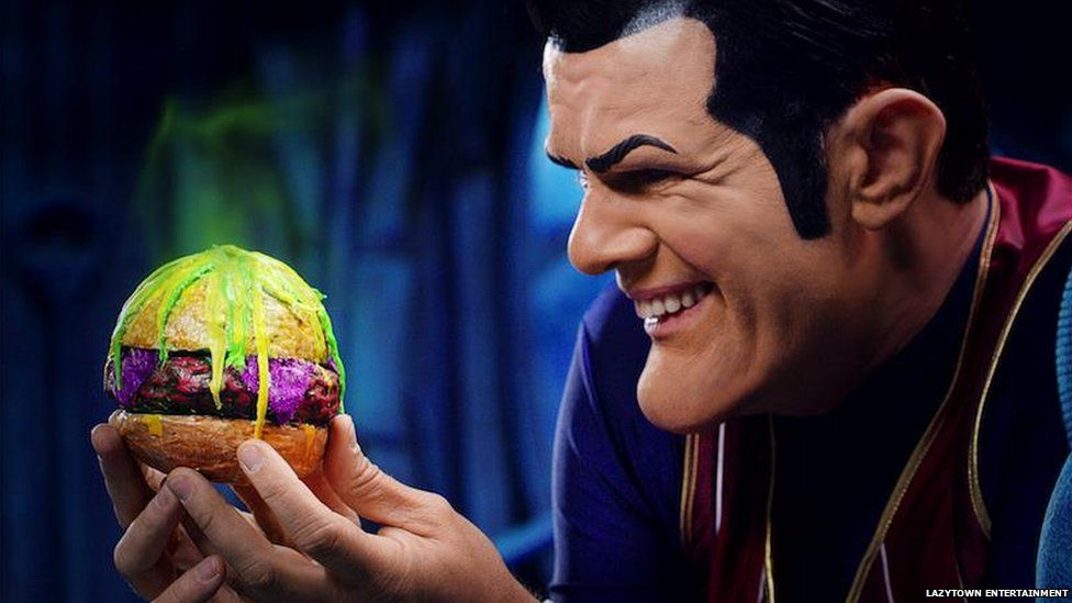 Robbie Rotten looking at a burger