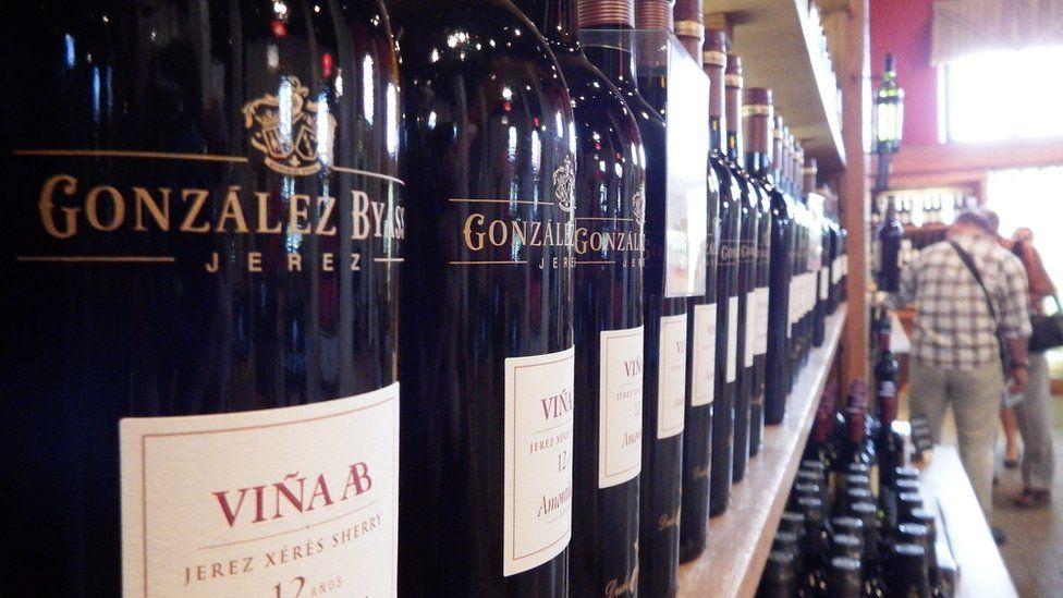 Sherry bottles at Gonzalez-Byass