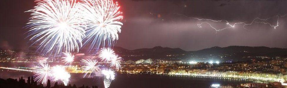 Bastille Day fireworks in Nice, France