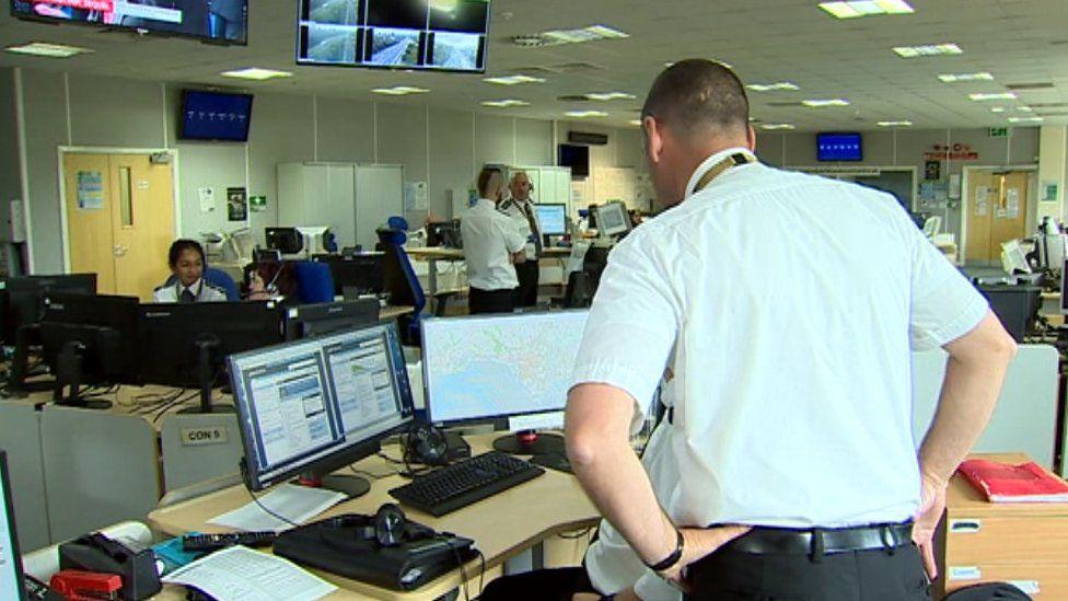 Dyfed-Powys Police control room