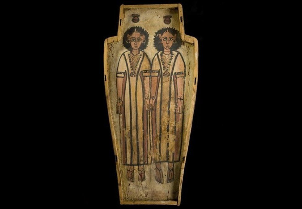 Double coffin of two half-brothers, Petamun and Penhorpabik: Ancient Egyptian, Upper Egypt, Thebes, late Roman Period, c.175-200 AD.