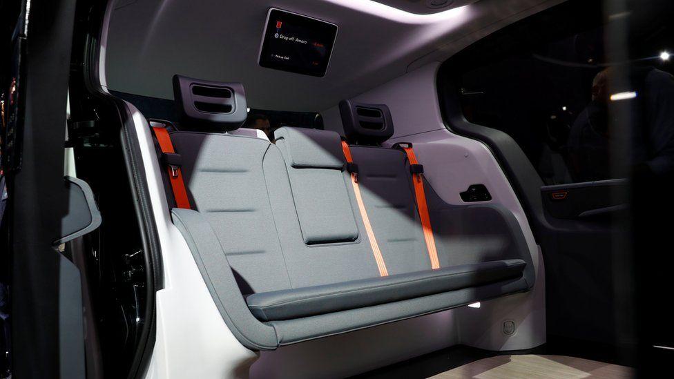 The interior of a Cruise Origin autonomous vehicle