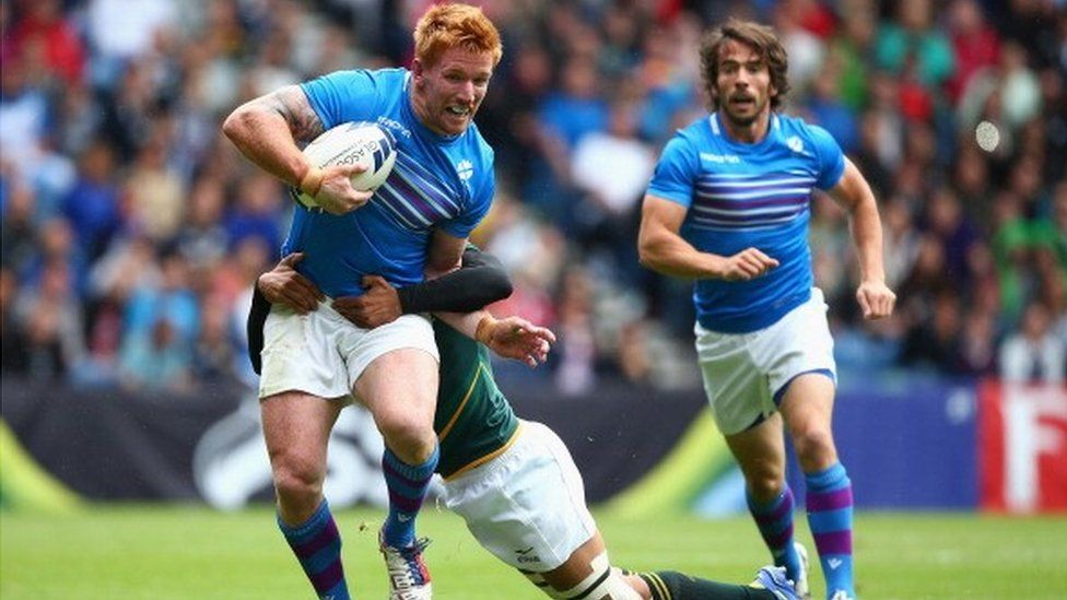 Scotland v South Africa in the rugby sevens at at the 2014 Commonwealth Games in Glasgow