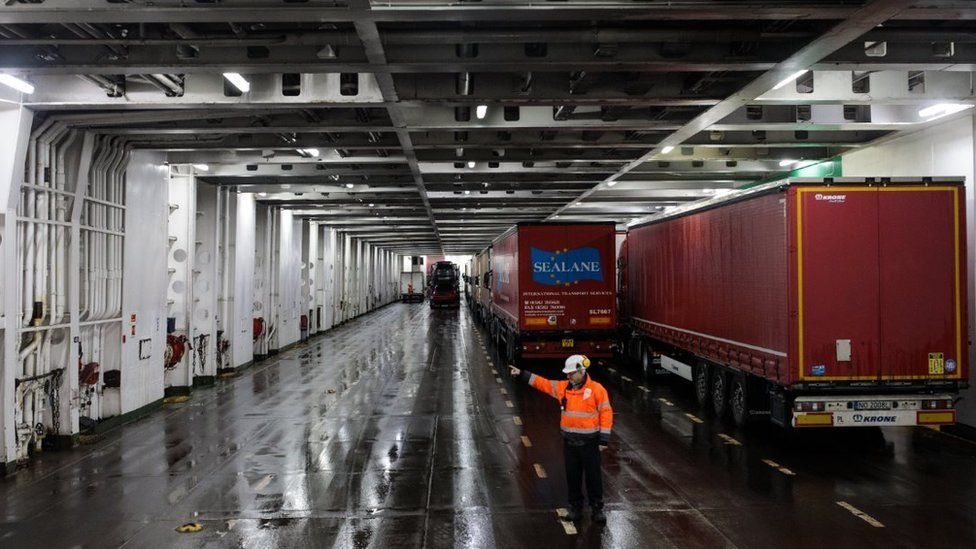 Lorry drivers are guided as they board a ferry to Calais at the port of Dover on March 5, 2018 in Dover, England