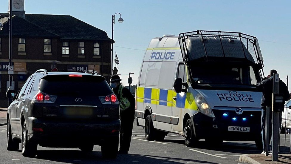 Police stopping a driver in Barry