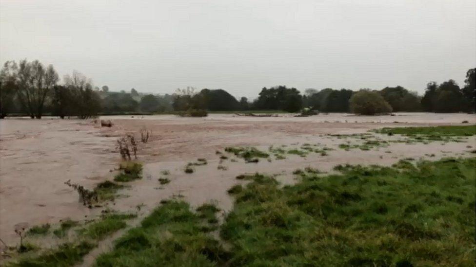 River Monnow has burst its banks
