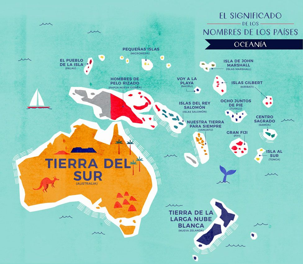 Mapa Oceanía con nombres traducidos