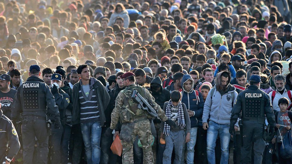 Migrants arriving in Slovenia