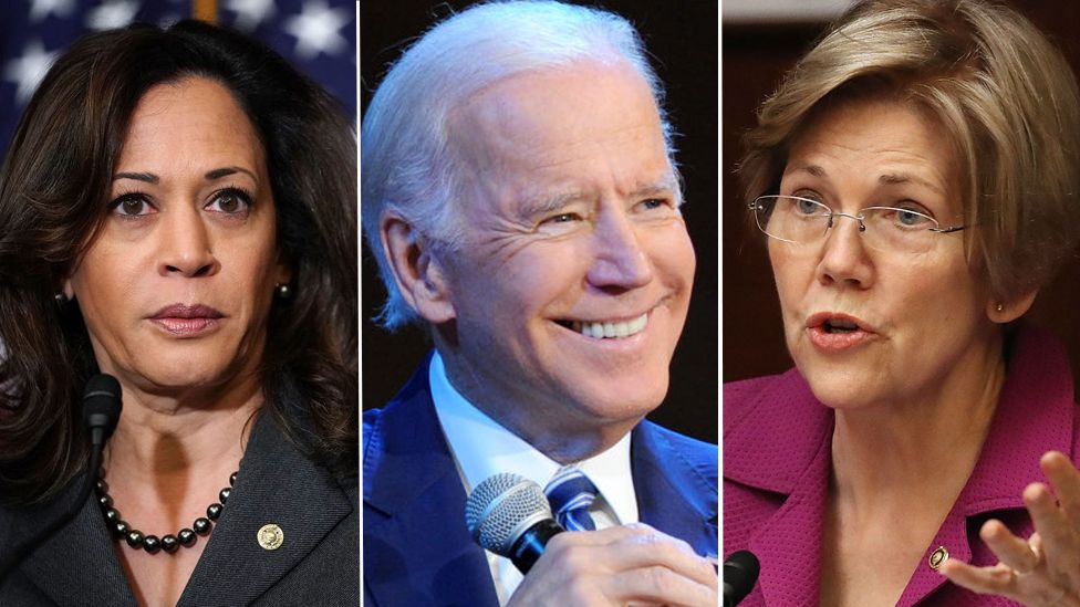 Kamala Harris, Joe Biden and Liz Warren